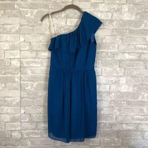 Shoshanna One Shoulder Dress Size 2 Blue 232